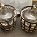 Demižony 50-54 litrů, kovový koš, vystlané slámou